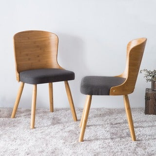 Corvus Calvados Mid-Century Modern Bamboo Dining Chairs (Set of 2)