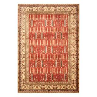 Handmade Herat Oriental Afghan Hand-knotted Vegetable Dye Super Kazak Wool Rug (6'7 x 9'3) - 6'7 x 9'3