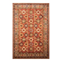 Handmade Herat Oriental Afghan Hand-knotted Vegetable Dye Super Kazak Wool Rug (6'5 x 9'7) - 6'5 x 9'7