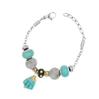 "BeSheek Jewelry ""Buddha Bob"" Silver European-Style Interchangeable Charm Bead Fashion Bracelet"