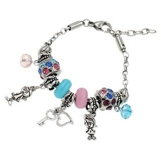 "BeSheek Jewelry ""Children are the key to my heart"" Silver European-Style Interchangeable Charm Bead Fashion Bracelet"