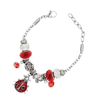"BeSheek Jewelry ""Red ladybug"" Silver European-Style Interchangeable Charm Bead Fashion Bracelet"