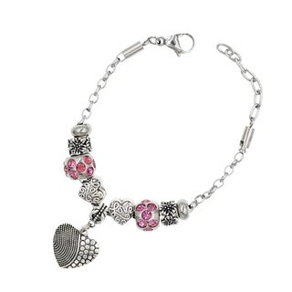 "BeSheek Jewelry ""Hearts of Love"" Silver European-Style Interchangeable Charm Bead Fashion Bracelet"