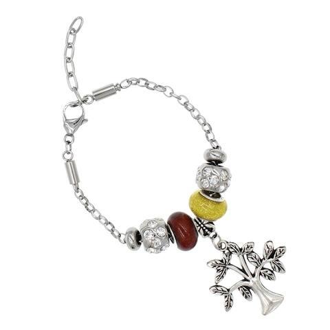 """BeSheek Jewelry """"Glittered Joshua Tree"""" Silver European-Style Interchangeable Charm Bead Fashion Bracelet"""