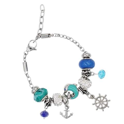 "BeSheek Jewelry ""Nautical Fun"" Silver European-Style Interchangeable Charm Bead Fashion Bracelet"