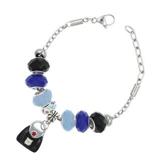 """BeSheek Jewelry """"Little Black Bag"""" Silver European-Style Interchangeable Charm Bead Fashion Bracelet"""