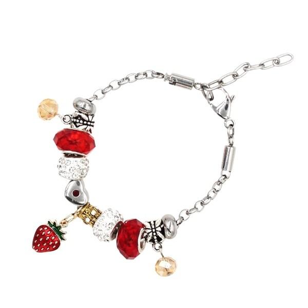 Besheek Jewelry Strawberry Fields Silver European Style Interchangeable Charm Bead Fashion Bracelet