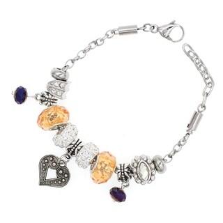 """BeSheek Jewelry """"Bold Heart"""" Silver European-Style Interchangeable Charm Bead Fashion Bracelet"""