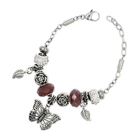 """BeSheek Jewelry """"Earth, Wind, Butterfly"""" Silver European-Style Interchangeable Charm Bead Fashion Bracelet"""