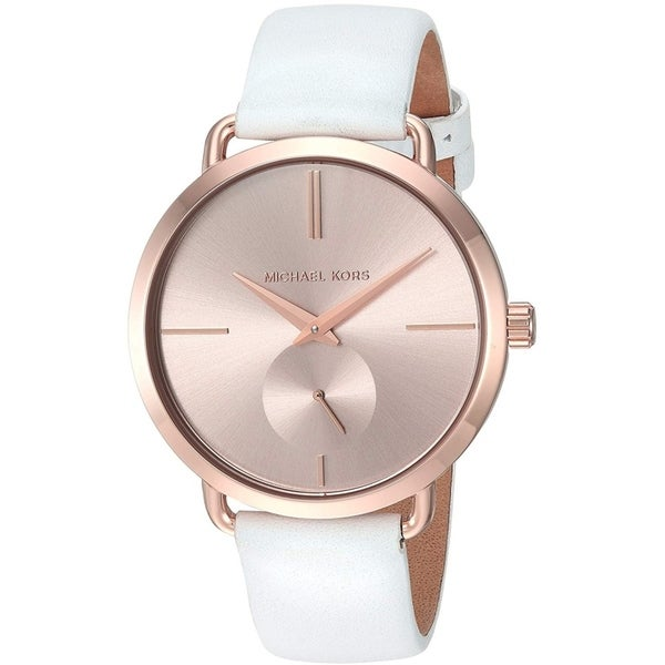 dbf83ad11a58 Shop Michael Kors Women s Portia Rose Dial White Leather Watch ...
