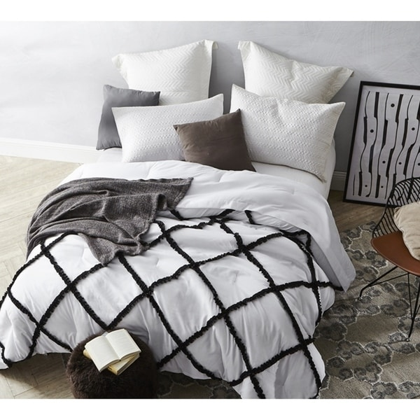 BYB Black on White Gathered Ruffles - Handcrafted Series Comforter