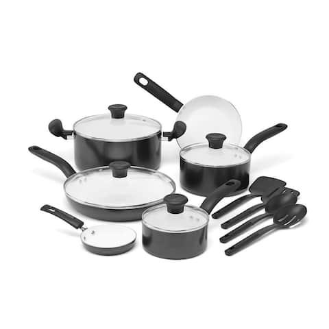 T-Fal Initiatives 16 Pc. Cookware Set, Black