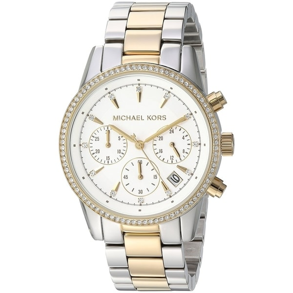 4e7b0140f9eb Michael Kors Women  x27 s Ritz Chronograph Two-Tone Steel Bracelet Watch