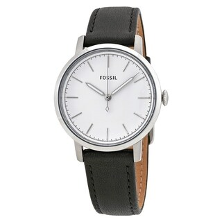Fossil Women's ES4186 Neely White Dial Black Leather Watch