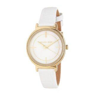 Michael Kors Women's MK2662 Cinthia Mother of Pearl Dial White Leather Watch