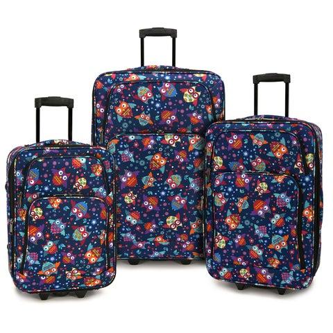 Elite Luggage Owls 3-piece Expandable Rolling Luggage Set