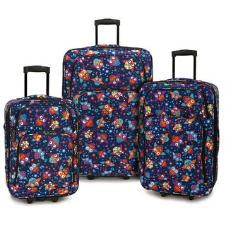 Elite Luggage Owls 3-piece Expandable Softside Rolling Luggage Set
