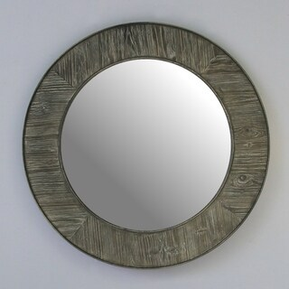 Infurniture Grey Glass/Wood 27.5-inch Round Rustic Mirror