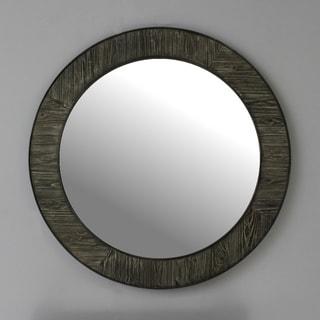 "35"" Rustic solid fir mirror in grey (Round) - A/N"