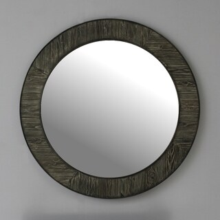 Infurniture Rustic Grey Solid Fir 35-inch Round Mirror