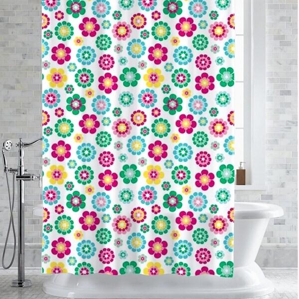 Alexia Floral Print PEVA EVA Shower Curtain Liner