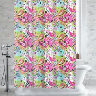 Lilly Paisley Floral Print PEVA EVA Shower Curtain Liner