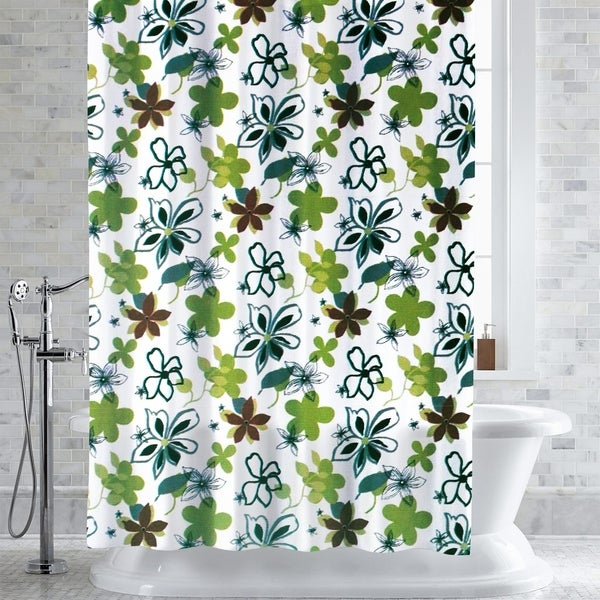 Garner Floral Print PEVA EVA Shower Curtain Liner