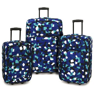 Elite Luggage Blue Geo 3-piece Expandable Rolling Luggage Set