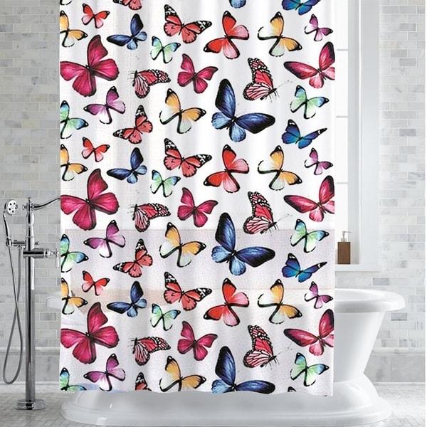 Botanical Butterfly Print PEVA EVA Shower Curtain Liner