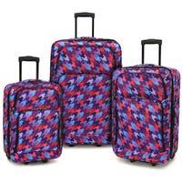 Elite Luggage Houndstooth 3-piece Expandable Softside Rolling Luggage Set