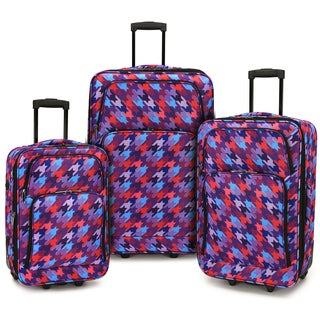 Elite Luggage Houndstooth 3-piece Expandable Rolling Luggage Set