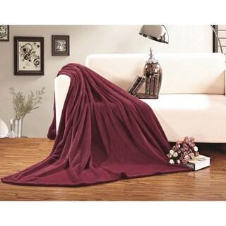 Elegant Comfort Ultra-super Soft Fleece Blanket King/ Cal-King Size in Red (As Is Item)