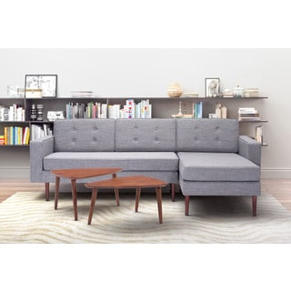 Puget Grey Upholstered Faux Linen Right Facing Sofa Sectional
