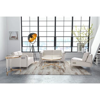 Thor White Faux Leather Chrome Frame Loveseat with USB Panel