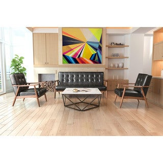 Rocky Black Faux Leather/Wood Sofa