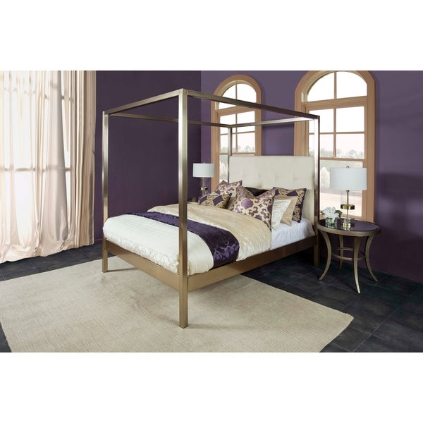 Avalon Champagne Brass Metal/Fabric King Canopy Bed Set