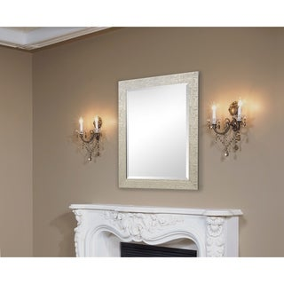 Silver/Champagne Rectangular Vanity Wall Mirror with Hexagon Mosaic