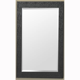 Black Rectangular Beveled Vanity Wall Mirror with Hexagon Mosaic