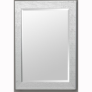 Silver Rectangular Beveled Vanity Wall Mirror with Hexagon Mosaic