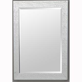 Silver Rectangular Beveled Vanity Wall Mirror with Hexagon Mosaic