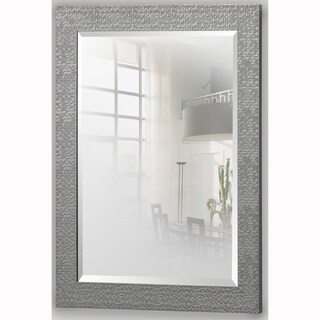 Grey Rectangular Beveled Vanity Wall Mirror with Hexagon Mosaic