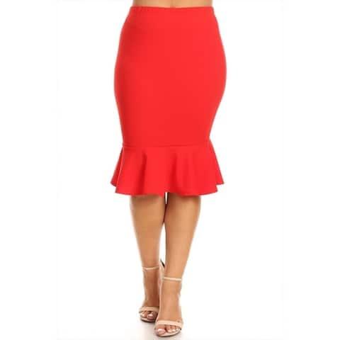 Women's Plus Size Solid Mermaid Silhouette Skirt