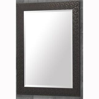 Bronze Finish Rectangular Beveled Vanity Wall Mirror With Mosaic Frame