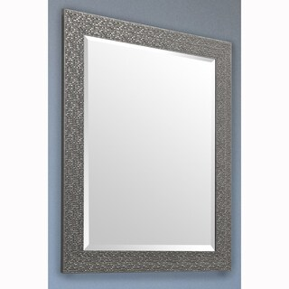 Charcoal Grey Rectangular Beveled Vanity Wall Mirror With Mosaic Frame