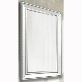 Silver Beaded Rectangular Vanity Wall Mirror and Beveled Mirror Frame