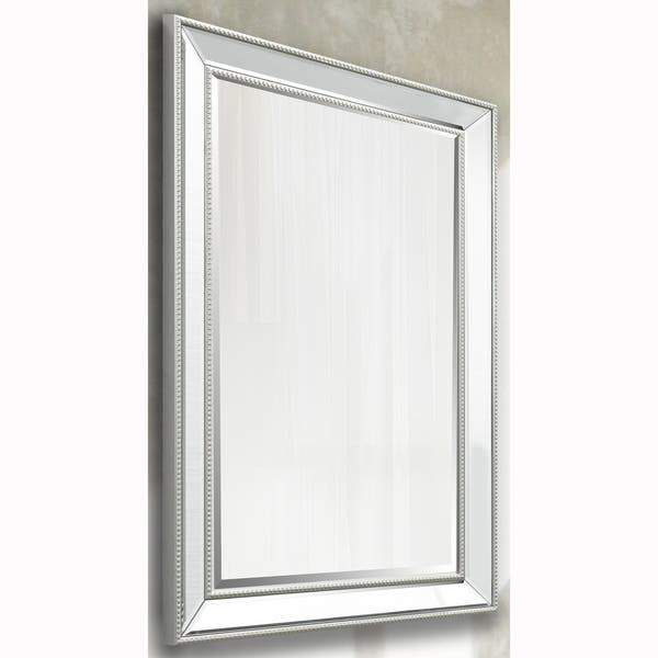 Silver Beaded Rectangular Vanity Wall Mirror And