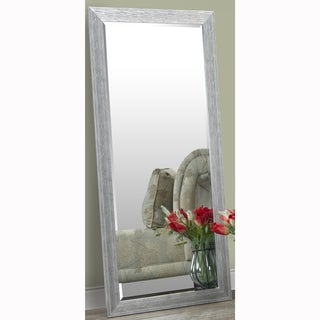 Silver Full Length Leaner Floor Mirror with Faux Wood Grain Frame