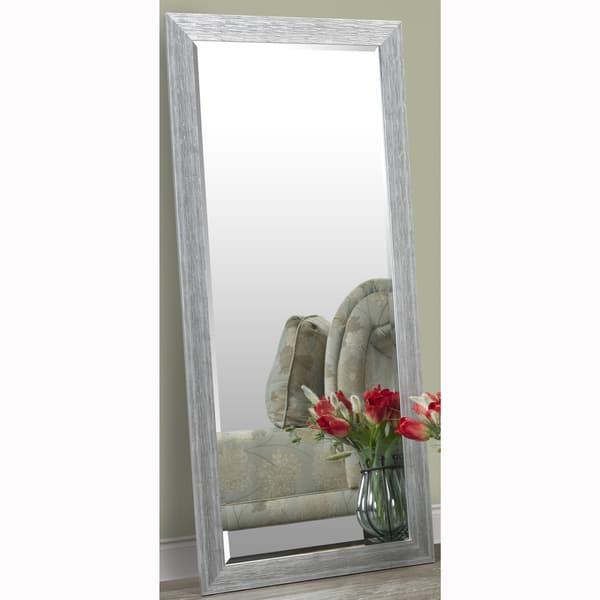 Floor Mirror With Faux Wood Grain