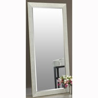 Shop Silver Full Length Leaner Floor Mirror with Faux Wood Grain ...