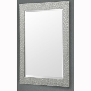 Silver Finish Rectangular Beveled Vanity Wall Mirror With Mosaic Frame